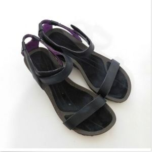 Teva Black Leather Wedges Ankle Strap Sandals